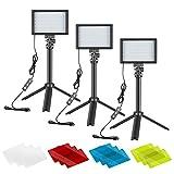 Neewer 3 Pack Kit de Iluminación para Fotografía Portátil Luz de Video LED...