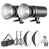 Neewer Flash Estroboscópico 600W Kit Iluminación:(2)300W Monoluz (2)Reflector...