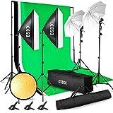 ESDDI - Kit de iluminación Profesional con Softbox y Paraguas - 4x85W - para Estudio...